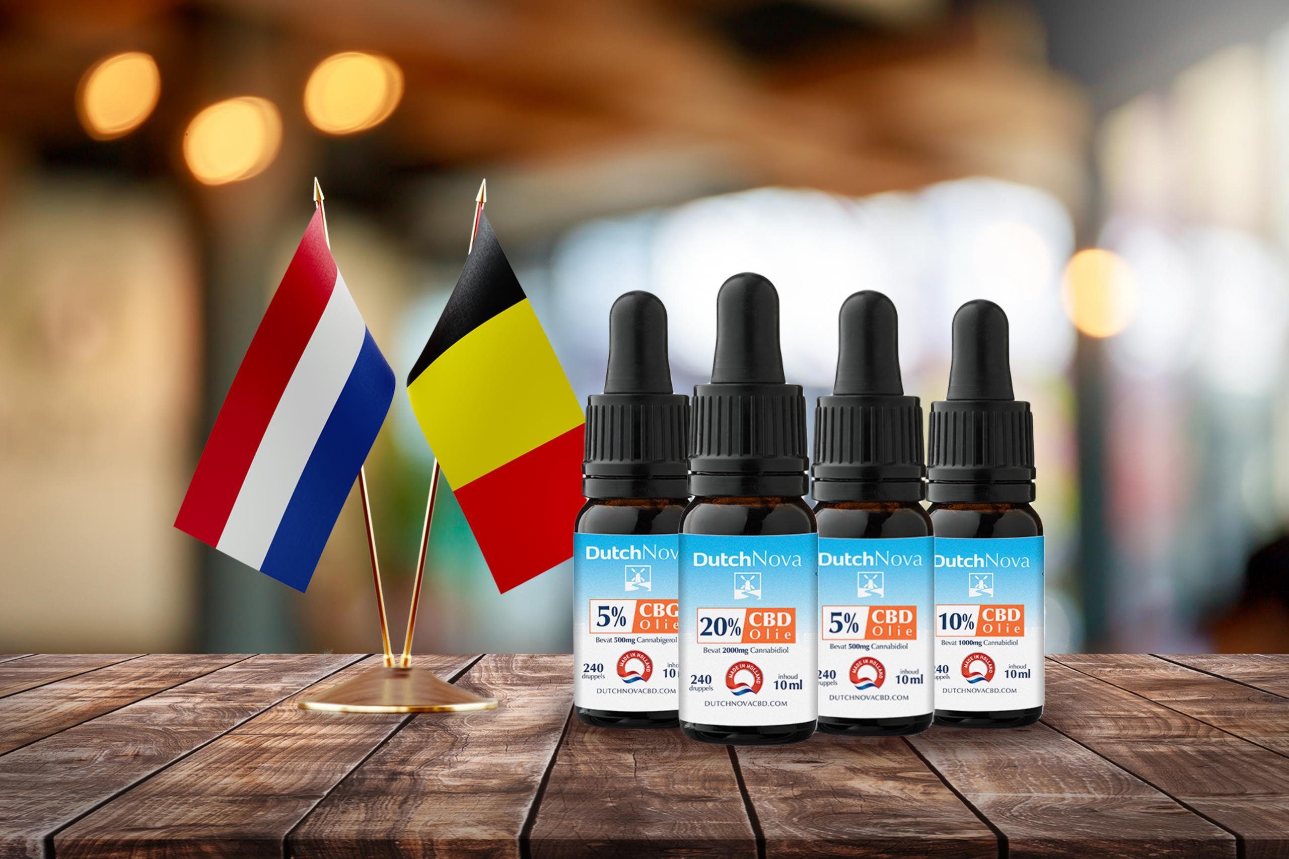 flesjes cbd olie kopen België Nederland vlag